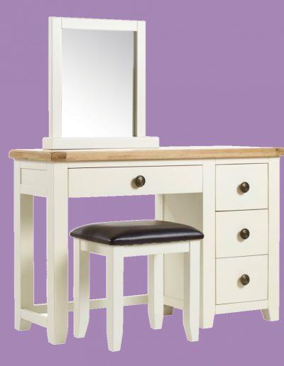 dresser, brown, white, mirror, 4 draws, table, seat, chair