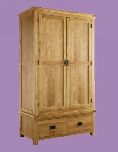 brown, cupboard, 2 doors, handles, 2 draws