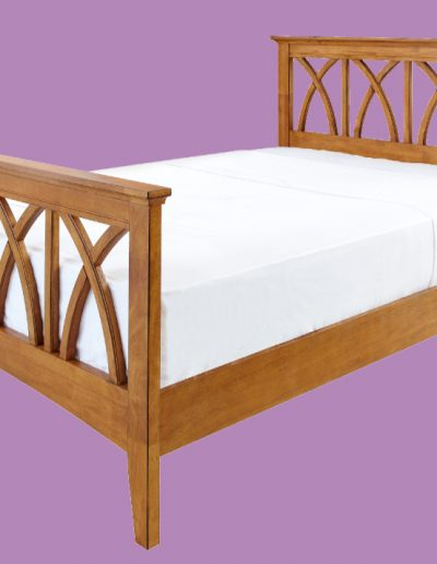 wooden, bed, large, mattress