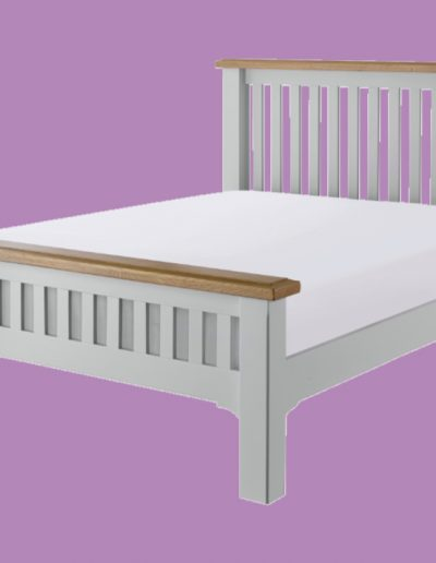wooden bed, grey, brown, mattress