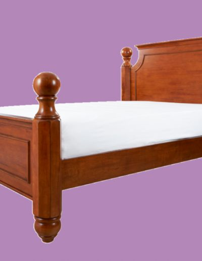 wooden, queen size, bed, brown