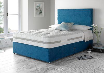 Indulgence, bed, mattress, pillows, blue