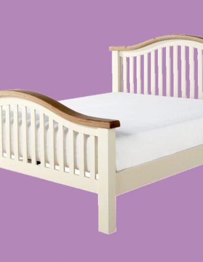 wooden, white, brown, bed, mattress